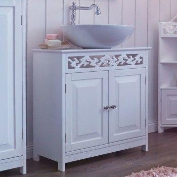 Badschrank Weiss Waschbeckenschrank Badmobel Landhaus Badezimmer