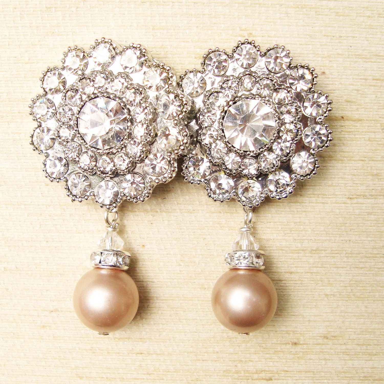 Champagne Pearl Bridal Earrings, Pearl Rhinestone Earrings, Victoria  Collection