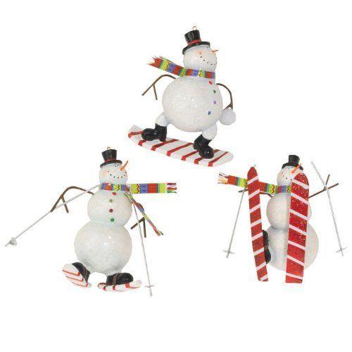 "Sporty Snowman Ornaments 4""  Price : $19.95 http://www.perfectlyfestive.com/RAZ-Imports-Sporty-Snowman-Ornaments/dp/B008SKSX3U"