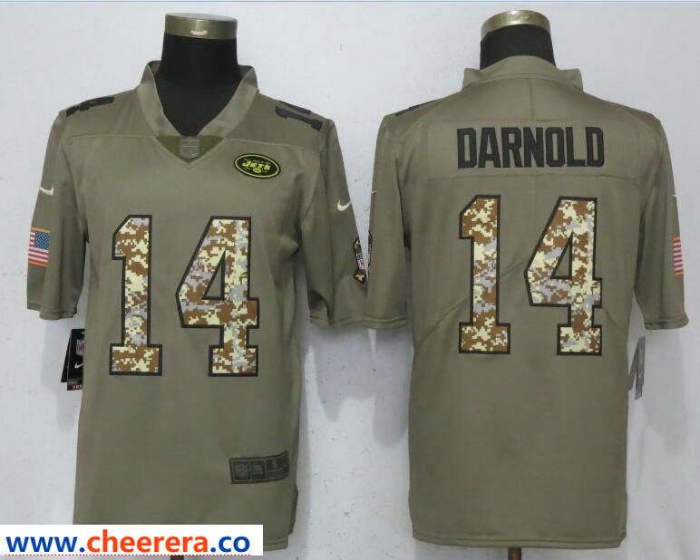 online retailer 90405 59574 Nike Jets 14 Sam Darnold Olive Camo Salute to Service Limted ...