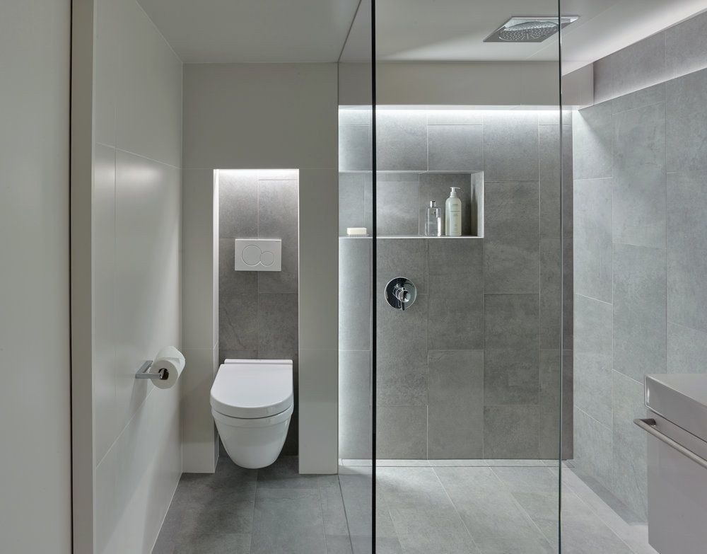Concept Wall Mounted Toilet In Niche Interesting Lighting The