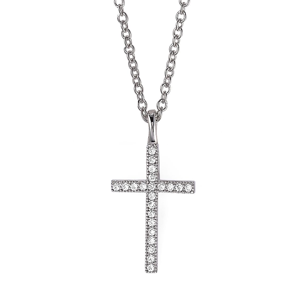 CRISLU CUBIC ZIRCONIA CLASSIC CROSS NECKLACE available at Ear Abstracts Boutique 714.996.3505 *We ship!*