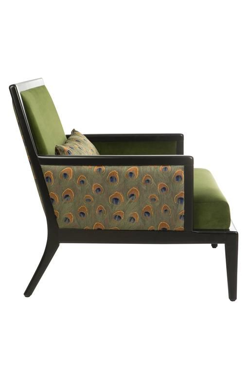 French Modern Olive Green Velvet Upholstered Peacock Lounge Bergere Armchair 3