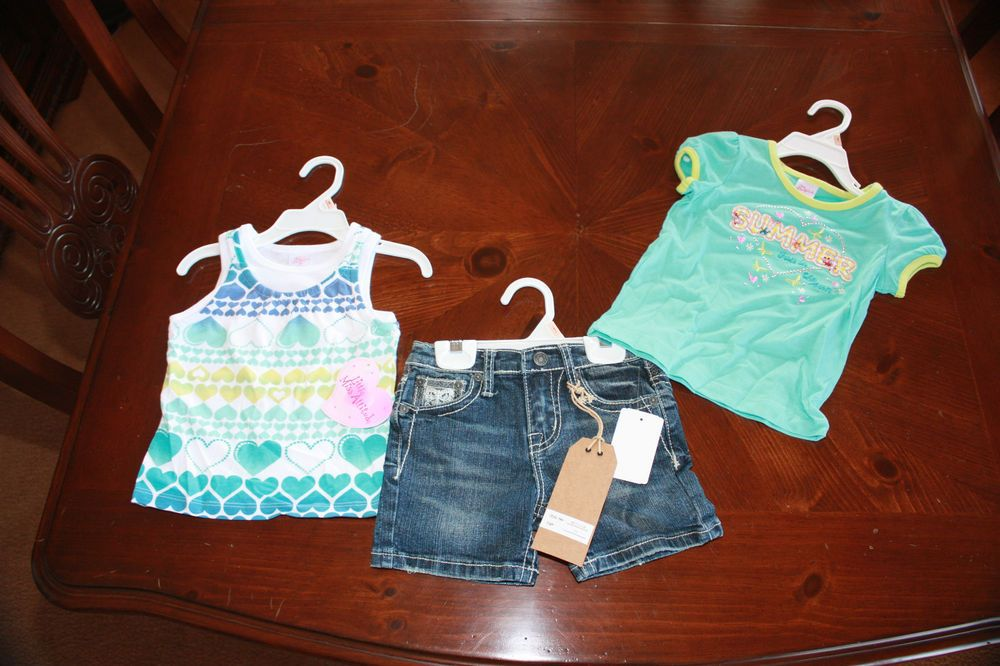 NWT 3 Piece Lot- 2 T-Shirts and 1 Pair of Jean Shorts Size 2T Originally 60.00 #Girls #Clothing #Gift
