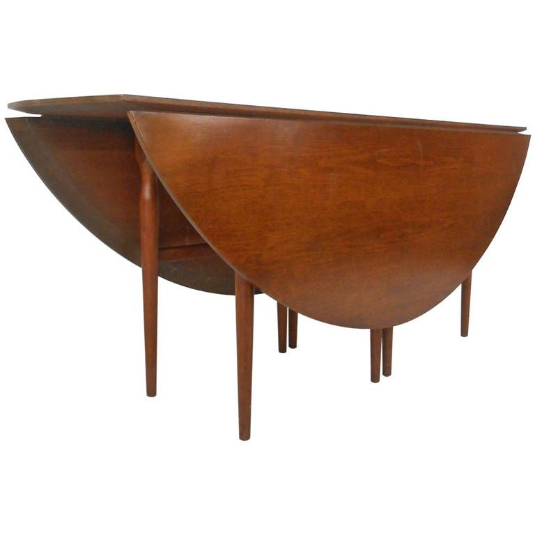 Large DropLeaf Gateleg Table By Henredon French Living - Large mid century modern dining table