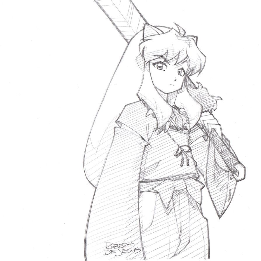 Inuyasha Pencil Sketch Commission By Banzchan On Deviantart Inuyasha Fan Art Inuyasha Sketches