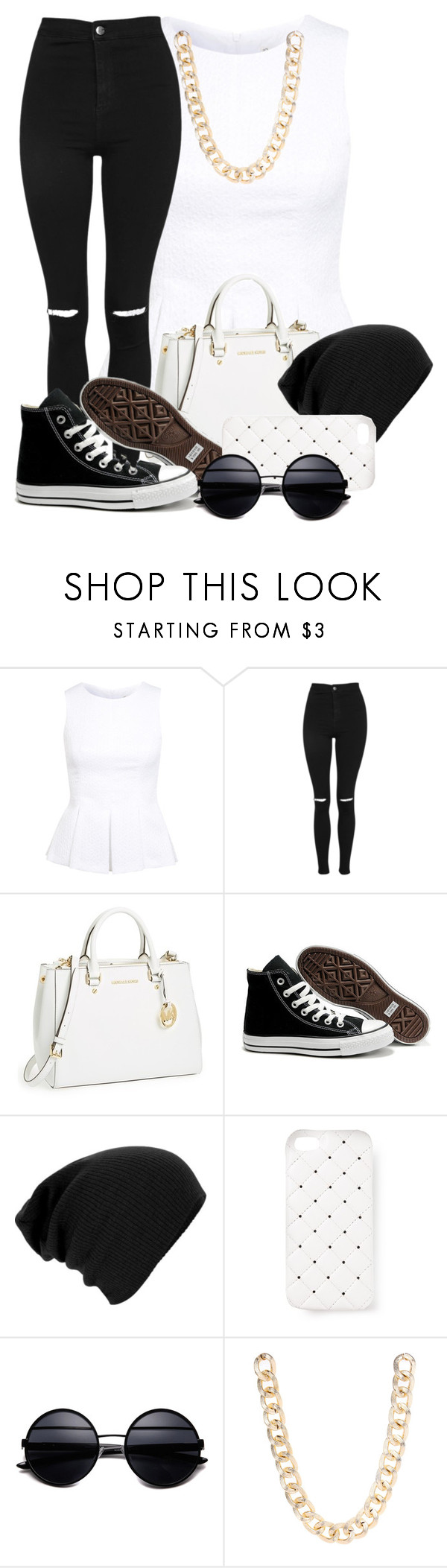 """""""6/9/14"""" by xtaylor-x ❤ liked on Polyvore featuring Miss Selfridge, Topshop, MICHAEL Michael Kors, Converse, 2Me Style and Jane Norman"""