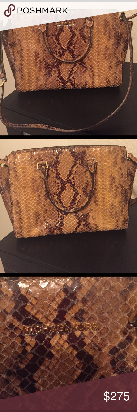 Brand New! Michael Kors Selma Bag! Never Used! Michael Kors medium size Selma satchel bag in snakeskin print! This bag is in excellent condition. No low ball offers please. Michael Kors Bags Satchels