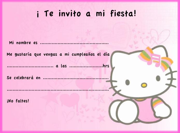Invitaciónes De Cumpleaños Hello Kitty Para Imprimir