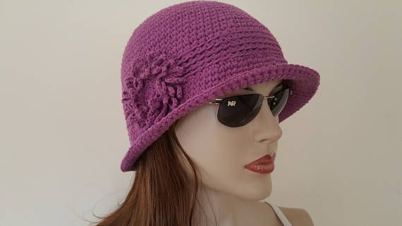 WOMAN COTTON HAT, Crochet Summer Hat ,bucket hat, chemo Hat,Crochet ...