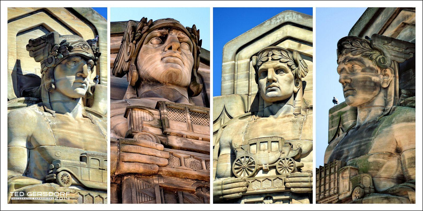 The Four Guardians Of Transportation Art Deco Statue Art Deco Architecture Art Deco Period