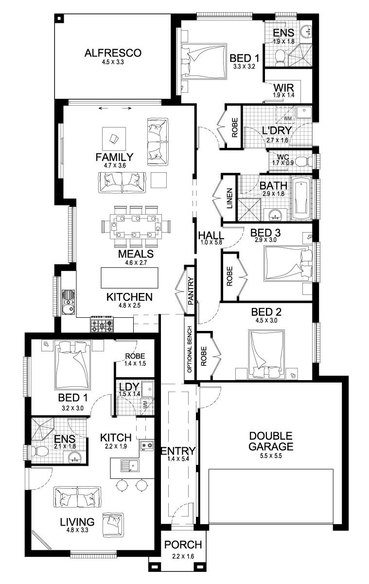 Newport Dual 24 Dual Living Level Floorplan By Kurmond Homes New Home Builders Sydney Nsw One Level House Plans House Floor Plans New Home Builders