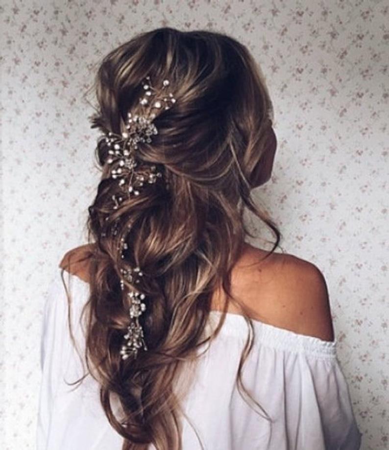 Photo of Cristal et la vigne de cheveux perle Extra Long cheveux vigne mariée cheveux vigne mariage cheveux vigne de cheveux pièce nuptiale bijoux cheveux vigne Perle en cristal