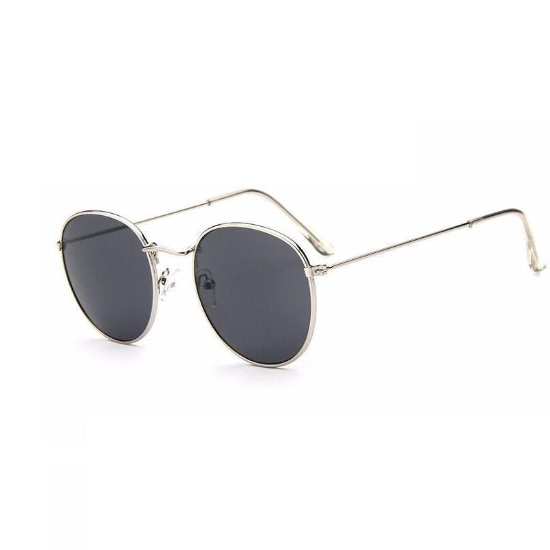 sonnenbrille Männer und frauen runden rahmen farbe Spiegel Retro mode brille sonnenbrille schwarzer rahmen Goldpulver ELesSo