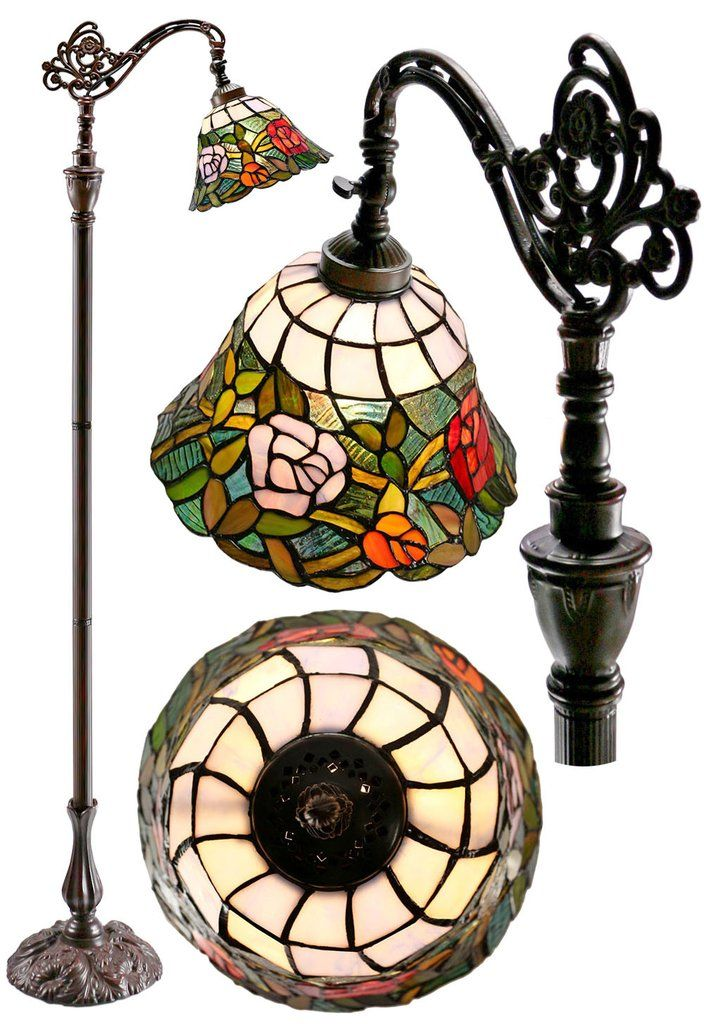 Romantic rose style leadlight stained glass bridge arm tiffany romantic rose style leadlight stained glass bridge arm tiffany floor lamp aloadofball Choice Image