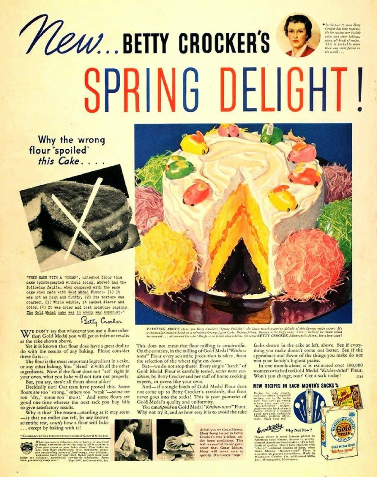 Betty Crocker Spring Delight Cake Vintage Ad Easter Cake