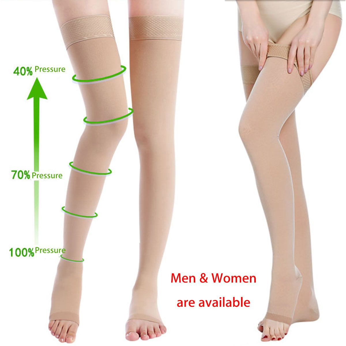5a56f938e71 Skin Color Anti Skip Compression Thigh Stocking Prevent Varicose Vein Socks  Pain Relief Open Toe