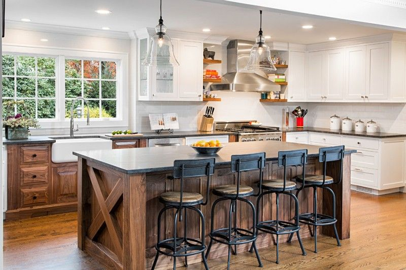 Large country l shaped eat in kitchen photo with a farmhouse sink shaker cabinets white cabinets granite countertops white backsplash ... & Large country l shaped eat in kitchen photo with a farmhouse sink ...