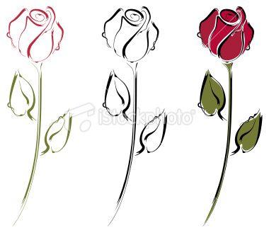 Rosebud Line Art Royalty Free Stock Vector Art Illustration