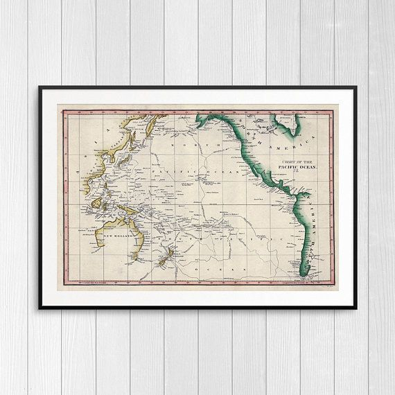 Vintage Map Of The Pacific Ocean Antique Old Maps