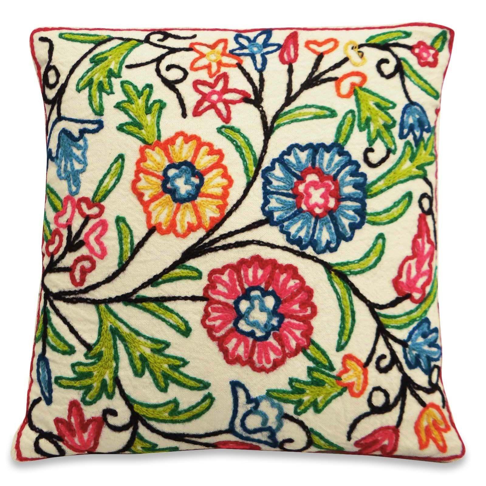 Embroidered cushion cover claudia pinterest textile fabrics