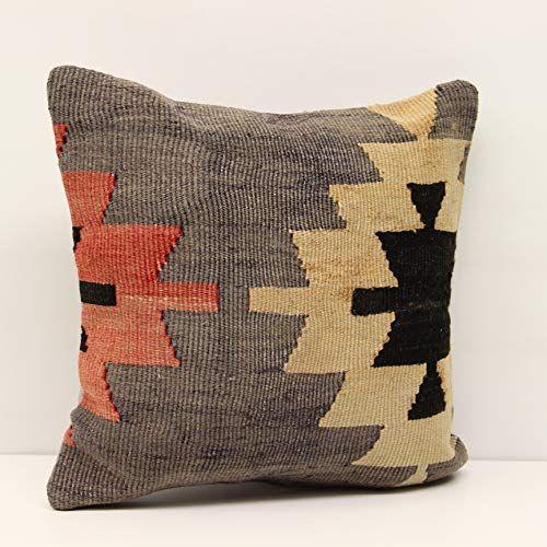Handmade Kilim pillow 16x16 inch (40x40 cm) Decorative pillow Boho design Cushion Cover