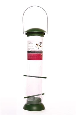 12 inch Nyjer Seed Feeder Click Top.  Poly Lid & Base - Polycarbonate Feeding Tube. #nyjer #birdfeeder #tubefeeder