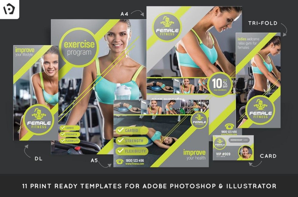 female-fitness-brochure-template-pack 15+ Fitness Brochure - Gym Brochure Templates