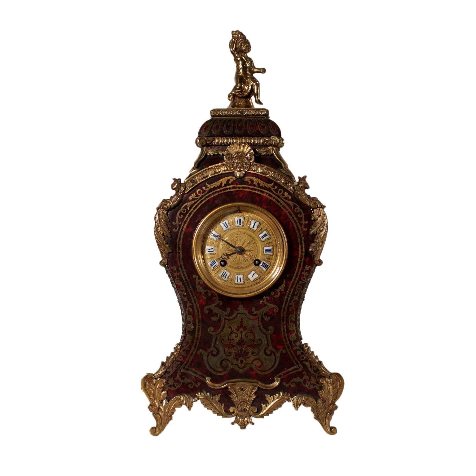 Antiquitäten Barocke Tischuhr Bronze Holz Frankreich 19 Jahrundert Barocke Tischuhr Aus Holz Schildpatt Mit Bronzeeinlagen Furniert Pendule Baroque Bois