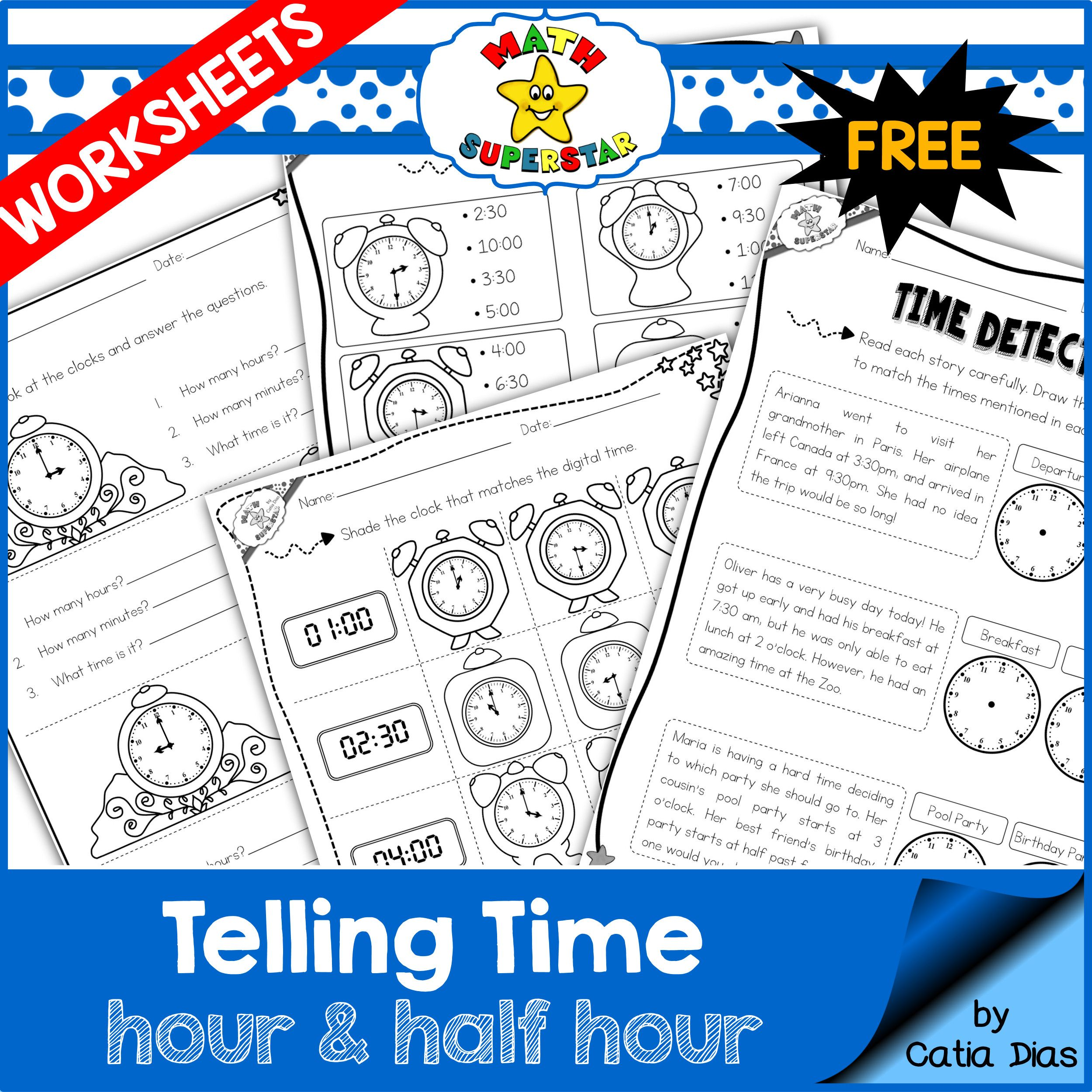 FREE Telling Time Worksheets (hour and half hour)   First Grade ...