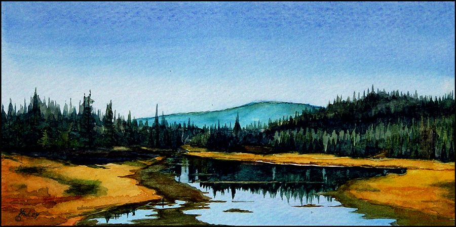 watercolor painting of Wyoming landscape, Lilly Lake, by John P. Finley