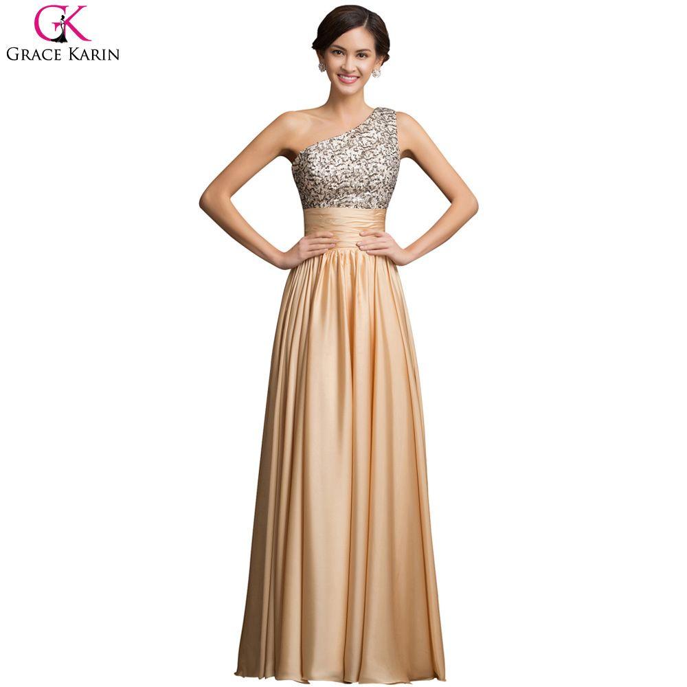339bbb6a71 Grace Karin A Line One Shoulder Evening Dresses Sequin Gold Prom Dress  Zipper Floor Length Pleats Formal Chiffon Evening Gowns #PromDresses