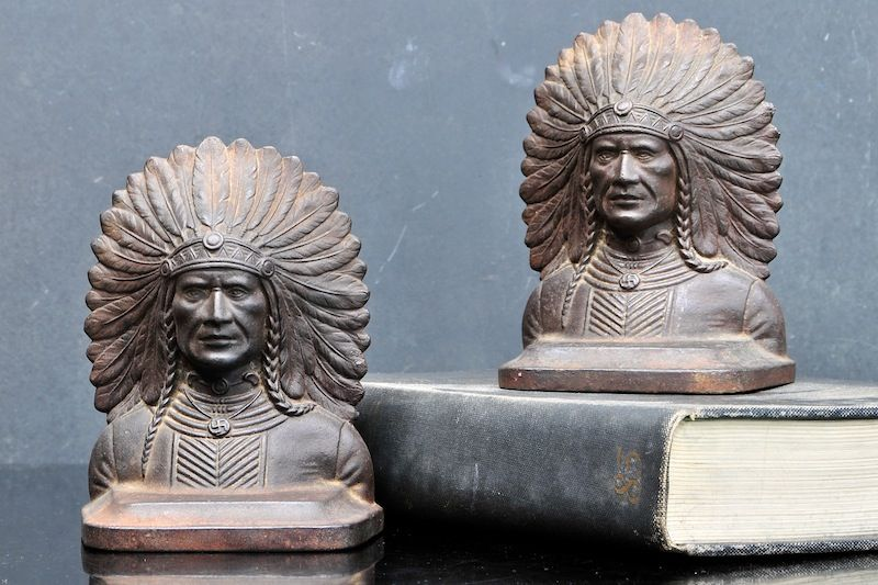 Vintage Indian Chief Bronze Bookends