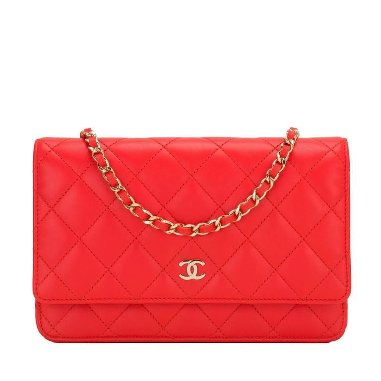 f349e1b9f6d5 Chanel Red Quilted Lambskin Classic Wallet On Chain (WOC)
