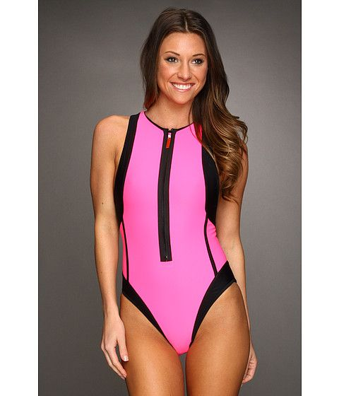 251af9a66 TYR Flirt Zipper One-Piece Swimsuit Pink Me Up - Zappos.com Free Shipping  BOTH Ways