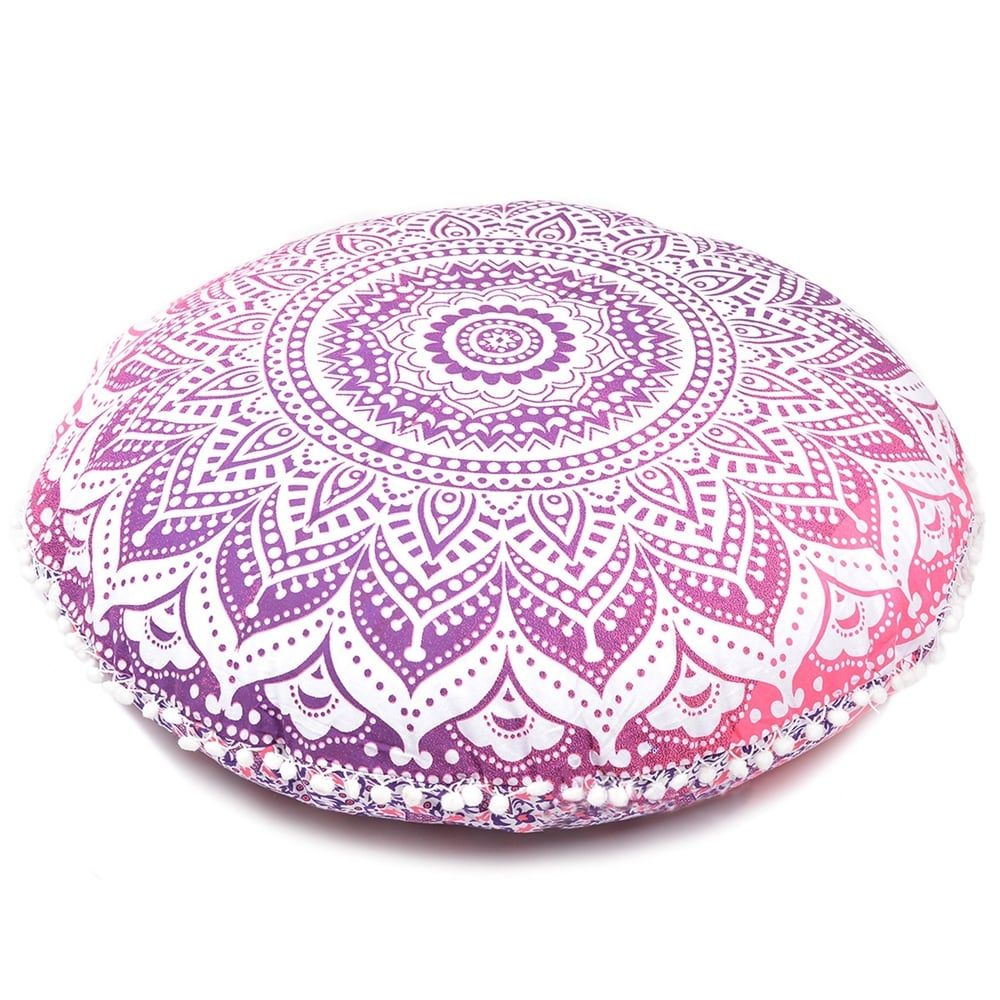 Oussum Decorative Floor Cushion Cover Pink Ombre Mandala Pillow Case Indian Art (Pillow Covers - Cotton - Hot Pink - Single)