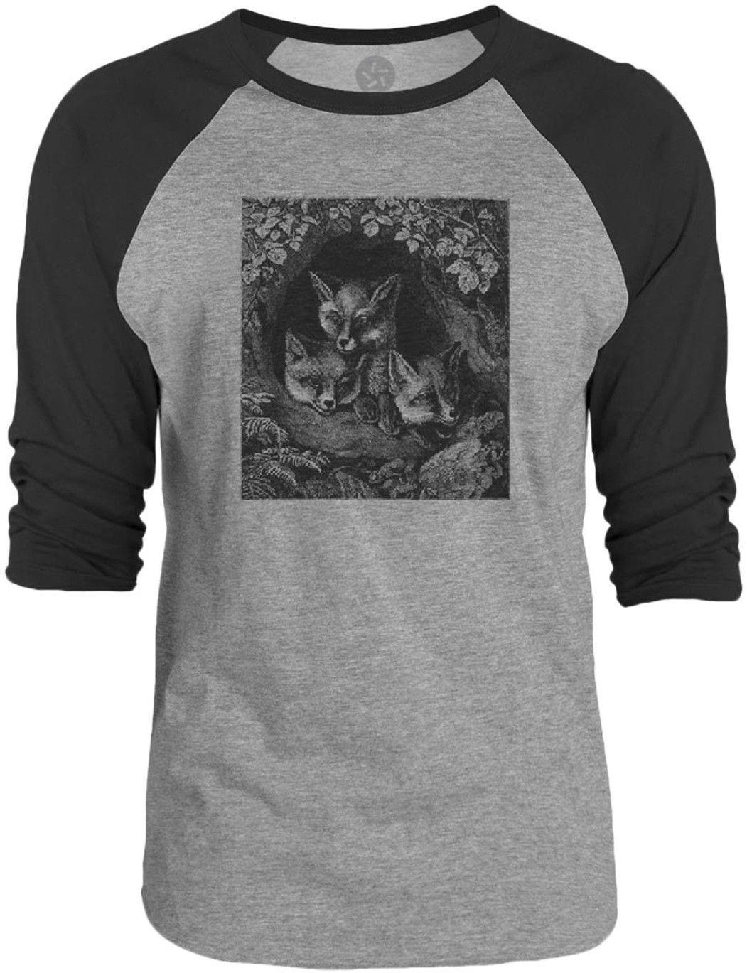 Big Texas Family of Foxes (Black) 3/4-Sleeve Raglan Baseball T-Shirt