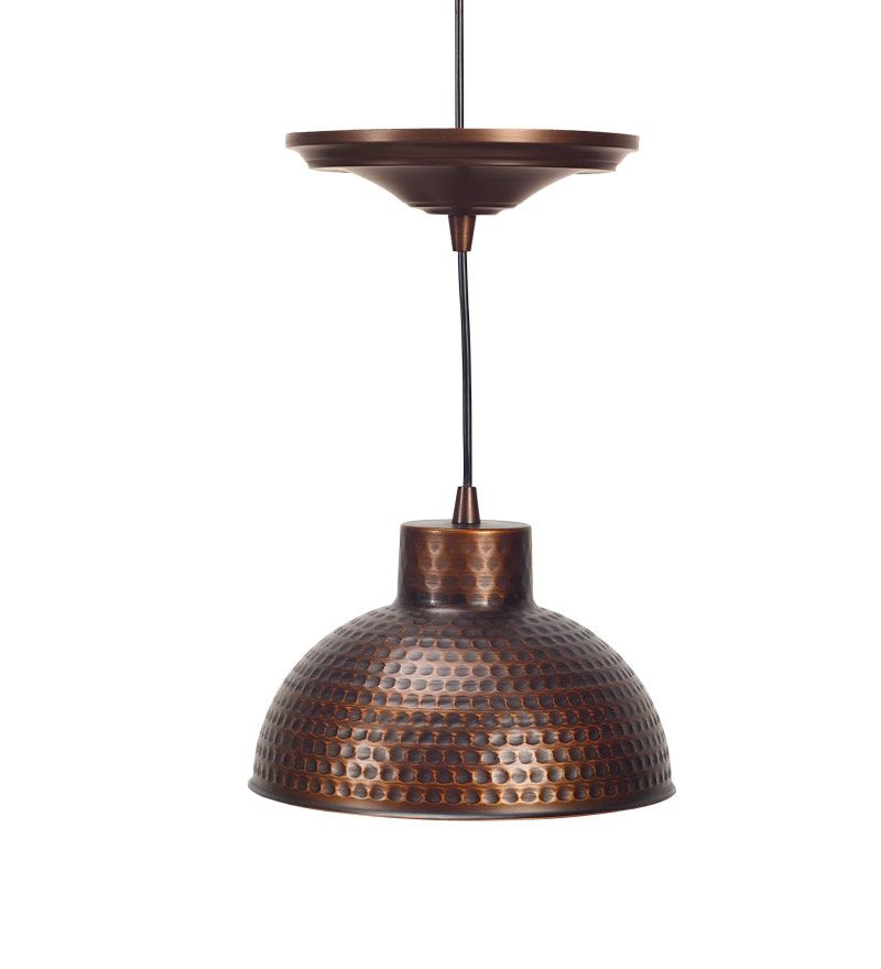 Clever easy conversion from recessed to pendant light screw in antique hammered copper