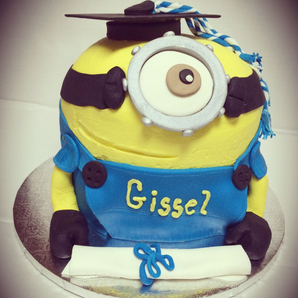 4 layer Minion Graduation themed French vanilla cake with ...