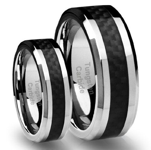 his hers 8mm6mm tungsten carbide wedding band ring set with black carbon fiber inlay - Black Wedding Ring Set