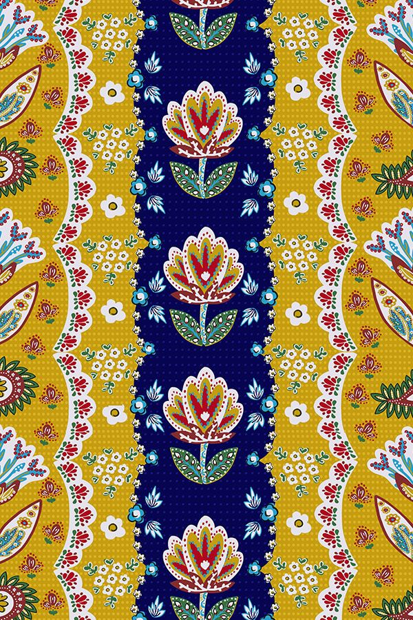 French Country Floral by susan_polston - Hand drawn flowers and pattern in bold blue and yellow on fabric, wallpaper, and gift wrap. Intricate Asian/French fusion style with bold vintage colors.