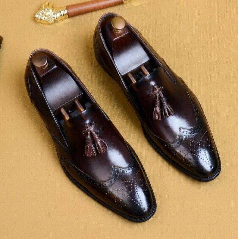 NEW Mens WingTip Dress Formal Shoes Slip On Loafers Brogue Tassel Carving Oxford