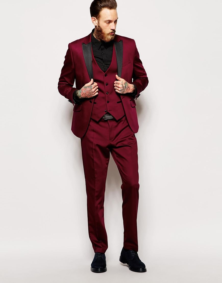 Red Eleven Tux Suit Jacket At Asos Com Prom Suits Mens Suits Suit Fashion