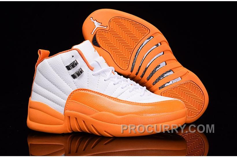 "425a3f5fad5f6 2016 Air Jordan 12 GS ""The Glove"" White Orange For Sale New"