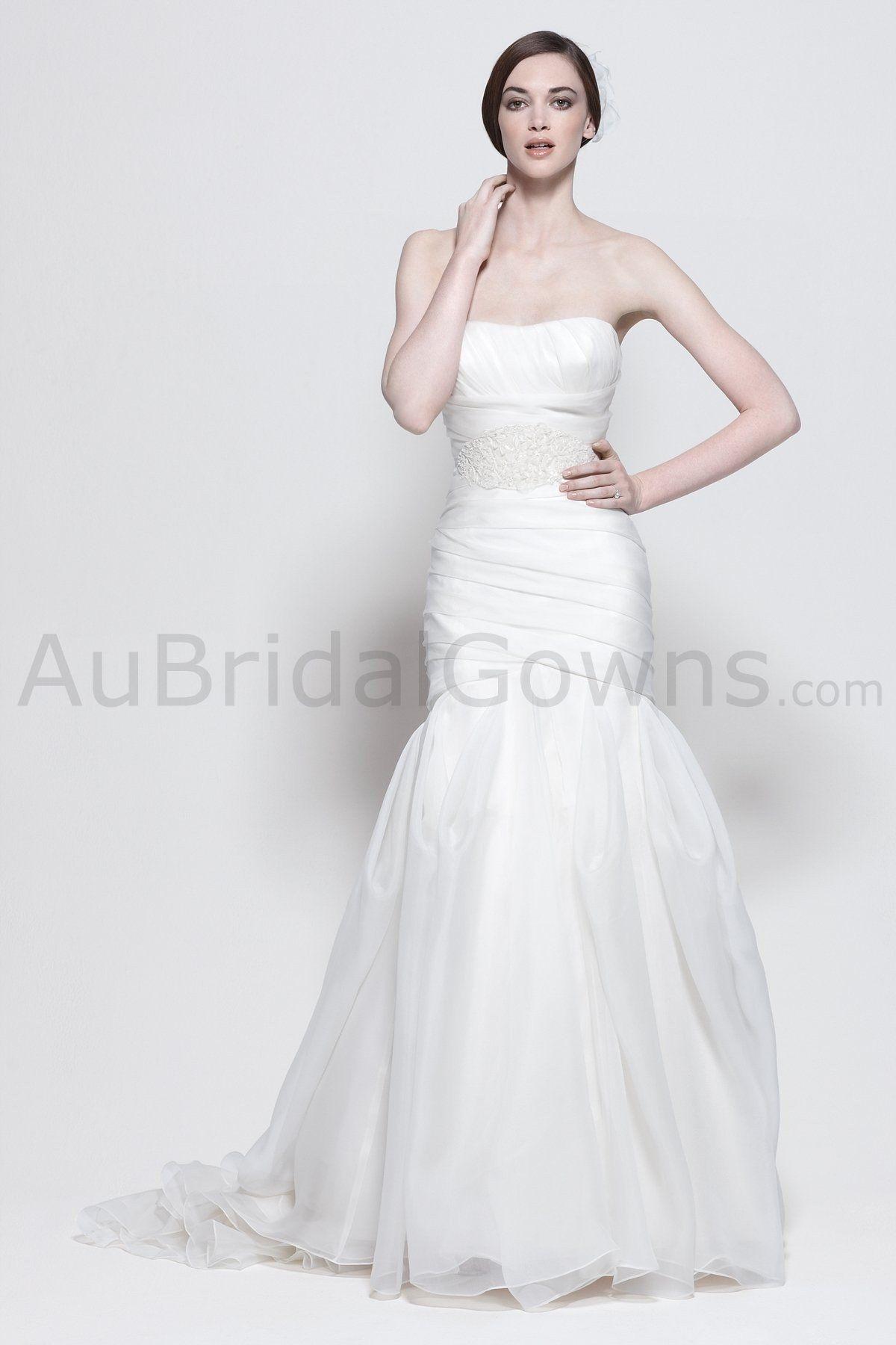 Organza Strapless Softly Curved Neckline Mermaid Wedding Dress - Wedding Dresses Australia