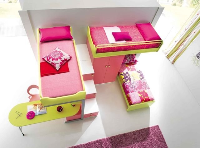 Kids Bedroom Bunk Beds For Girls i like the design of these 3 beds. good space saver! | for the
