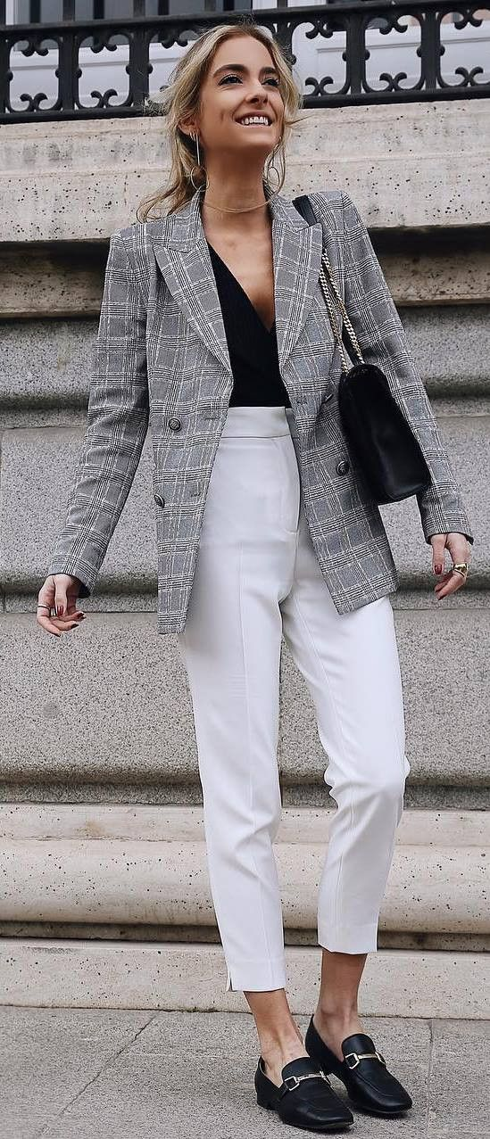 b09d19d410 casual office style addict   plaid blazer + top + bag + white pants +  loafers