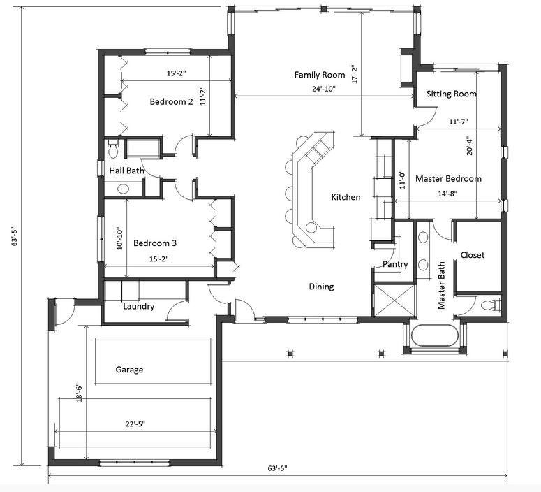 Plano De Casa Grande Y Moderna De 3 Dormitorios 1 Piso Planos De Casas Plano De Vivienda Planos De Casa De Estilo Rancho