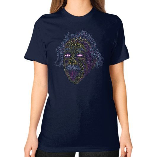 Psychedelic Molecule Einstein Scientist Unisex T-Shirt (on woman)