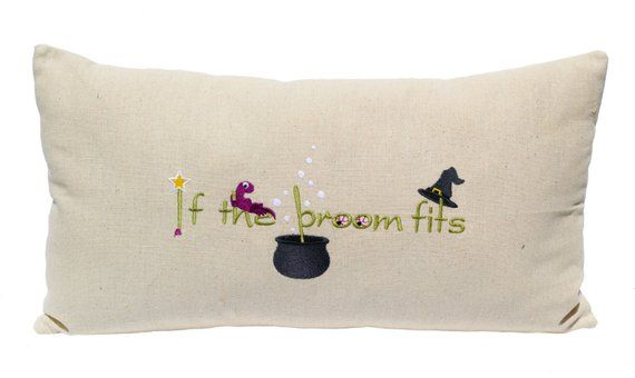 Witch Hat Halloween Decor Embroidered If The Broom Fits Quote Print Witch Hat Witch Brew Witch Kettl